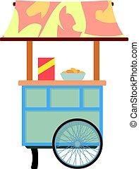 style, mobile, vente, charrette, nourriture, icône, dessin animé