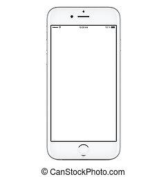 style, mockup, mobile, écran, téléphone, iphone, vide, devant, blanc, intelligent, vue
