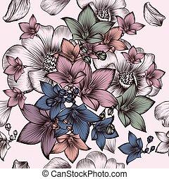 style, modèle, fleurs, floral, gravé, vendange, main, dessiné