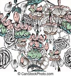 style, modèle, fleurs, victorien, gravé, main, dessiné