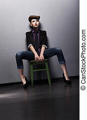style, mode, coup, garment., -, studio, branché, élégant, girl, mod