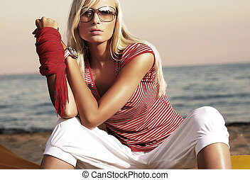 style, mode, lunettes soleil, photo, femme, séduisant