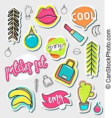 style, mode, pièces, collection., main, dessiner, comique, pièce, autocollants, dessin animé