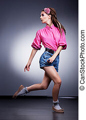 style, mode, short, jean, -, courant, studio, fascination, girl