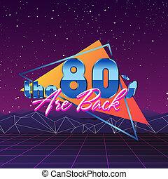 style, mode, vendange, néon, disco, vecteur, conception, retro, violet, fête, années quatre-vingts, ultra, stockage