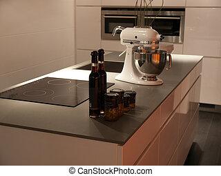 style, moderne, conception, branché, blanc, cuisine