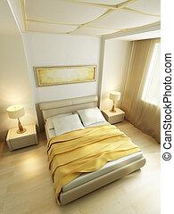 style, moderne, rendre, chambre à coucher, intérieur, 3d