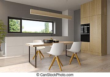 style, moderne, rendre, conception, intérieur, 3d