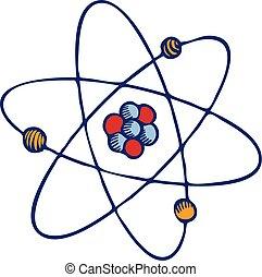 style, molécule, main, atome, icône, dessiné
