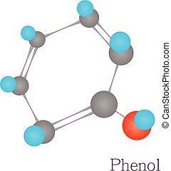 style, molécule, science, chimique, phenol, dessin animé, 3d