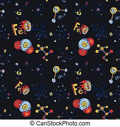 style, molécule, seamless, modèle, main, dessiné, chimie