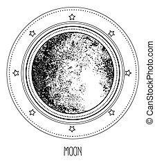 style., moon., illustration., ésotérique, hand-drawn, art., géométrie, isolé, gravure, sacré, science, élégant, vecteur, vendange, magie