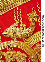 style, mur or, conception, thaï, stuc, indigène