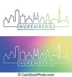style., nürnberg, skyline., linear, bunte