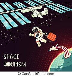 style, navette, bag., espace, earth., concept., carte, web., illustration, planète, vecteur, astronaute, retro, international, impression, conception, station., tourisme, dessin animé, voyage