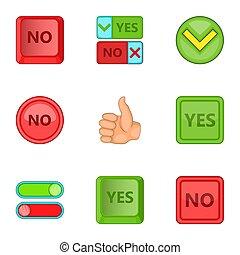 style, non, ensemble, icônes, signe, oui, dessin animé