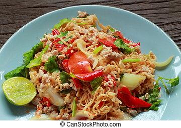 Style noodle salad spicy shrimp