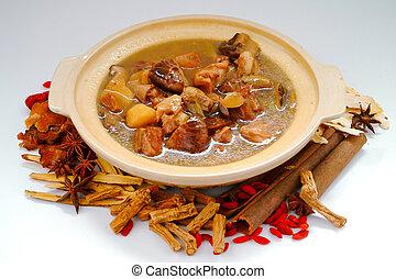 style, nourriture chinoise, aromate, pot potage, poulet