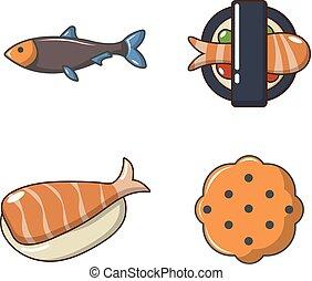 style, nourriture, fish, ensemble, dessin animé, icône