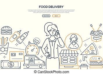 style, nourriture, moderne, -, livraison, conception, ligne, bannière