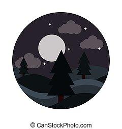 style, nuit, ciel lune, arbres, icône, paysage, étoiles, nature, plat, pin