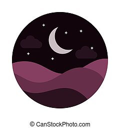 style, nuit, collines, lune, moitié, icône, paysage, étoiles, plat, nature