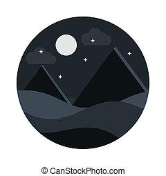 style, nuit, lune, désert, pyramides, icône, paysage, étoiles, plat, nature