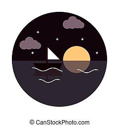style, nuit, mer lune, icône, paysage, étoiles, plat, nature, voilier