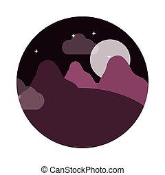 style, nuit, montagnes, lune, panoramique, icône, paysage, étoiles, plat, nature