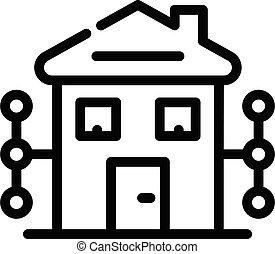 style, numérique, maison, contour, icône