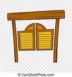 style, occidental, portes, icône, bar, dessin animé