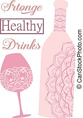 Style of unique bottle wine and glass champagne. Vector
