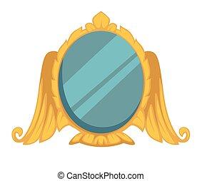 style, or, cadre, élément, miroir, intérieur, château, baroque, ailes