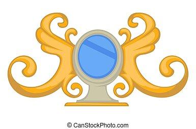 style, or, cadre, tourbillons, miroir, baroque, ailes