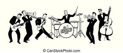 style, orchestra., 60, illustration., balançoire, 50, jazz, ...