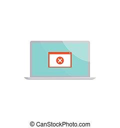 style, ordinateur portable, signe, erreur, icône, dessin animé