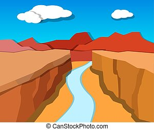 style, origami, canyon, vecteur, grandiose