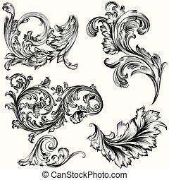 style, ornements, décoratif, ensemble, vecteur, vendange