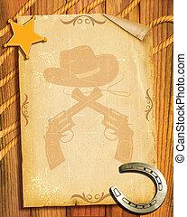 style., papel, viejo, plano de fondo, alguacil, vaquero, herradura, estrella