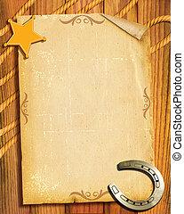 style., papier, vieux, fond, shérif, cow-boy, fer cheval, étoile