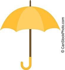 style, parapluie, blanc, isolé, jaune, arrière-plan., icon., dessin animé