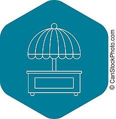 style, parapluie, contour, mobile, charrette, icône