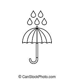 style, parapluie, contour, pluie, icône, gouttes