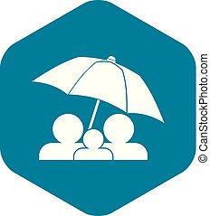 style, parapluie, famille, simple, sous, icône