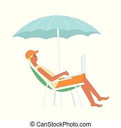 style, parapluie, séance, ordinateur portable, salon, sous, chaise, dessin animé, homme