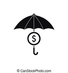 style, parapluie, simple, symbole, dollar, sous, icône
