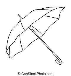 style, parasol, golf, illustration., icône, club, symbole, isolé, arrière-plan., vecteur, blanc, stockage, contour