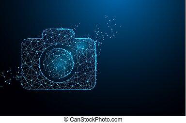 style, particule, appareil photo, illustration, lignes, vecteur, icône, triangles, design.
