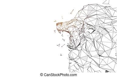style, particule, illustration, lignes, lion, vecteur, rugir, triangles, design.