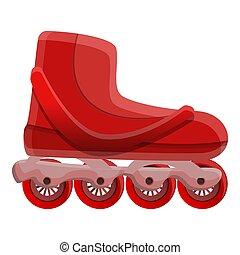 style, patins, icône, inline, dessin animé, rouges